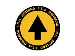 Vloersticker Metafas pijl twee-talig Ø20cm geel