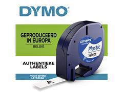 Labeltape Dymo Letratag 91201 plastic 12mm zwart op wit