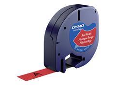 Labeltape Dymo Letratag 91203 plastic 12mm zwart op rood