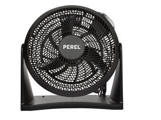 Vloerventilator Perel met afstandsbediening Ø30cm zwart