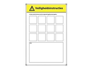 Veiligheidsbord Corona met wisselbare iconen Nederlandstalig 30x45cm