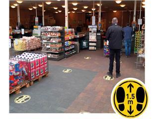 Vloersticker houd afstand geel/zwart Ø350mm gladde vloeren