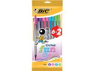 Balpen Bic Cristal assorti medium Fun pouch à 6+2 gratis
