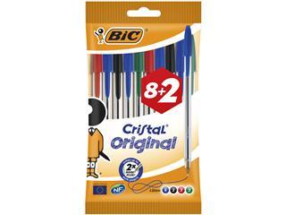 Balpen Bic Cristal assorti medium zakje à 8+2 gratis