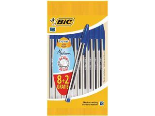 Balpen Bic Cristal blauw medium zakje à 8+2 gratis