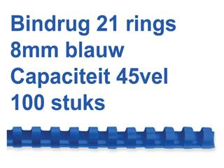 Bindrug Fellowes 8mm 21rings A4 blauw 100stuks