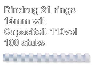 Bindrug GBC 14mm 21rings A4 wit 100stuks