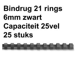 Bindrug GBC 6mm 21rings A4 zwart 25stuks