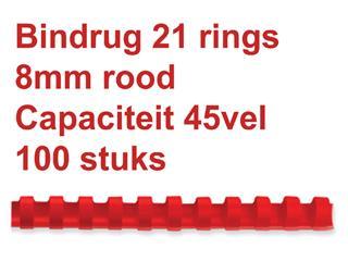 Bindrug GBC 8mm 21rings A4 rood 100stuks