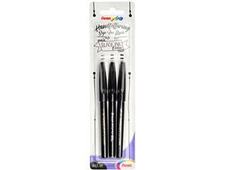 Brushstift Pentel SES15 blister à 3 stuks zwart edition