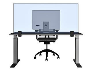 Bureauscherm transparant met 2 klemmen 68x160cm