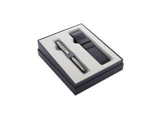 Cadeauset Parker balpen Sonnet Steel CT M met pennenetui