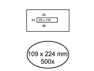 Envelop Quantore 109x224mm venster 2,5x11mm midden 500stuks