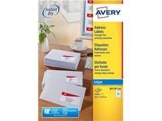 Etiket Avery J8159-100 63.5x33.9mm wit 2400stuks