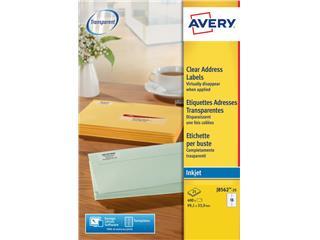 Etiket Avery J8563-25 99.1x38.1mm transparant 350stuks