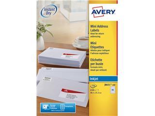 Etiket Avery J8651-100 38.1x21.2mm wit 6500stuks