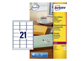 Etiket Avery L7560-25 63.5x38.1mm transparant 525stuks