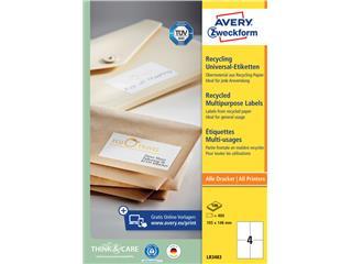 Etiket Avery LR3483 105x148mm A6 recycled wit 400stuks