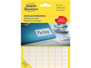 Etiket Avery Zweckform 3311 16x9mm wit 2646stuks