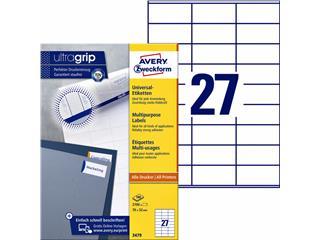 Etiket Avery Zweckform 3479 70x32mm wit 2700stuks