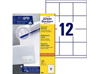 Etiket Avery Zweckform 3661 70x67.7mm wit 1200stuks