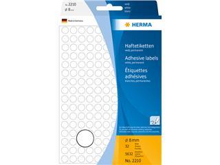 Etiket Herma 2210 rond 8mm wit 5632stuks