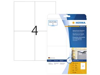 Etiket Herma 4598 105x148mm A4 40st folie wit