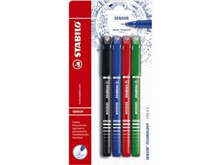 Fineliner STABILO Sensor blister à 4 kleuren