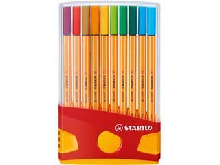 Fineliner STABILO point 88 ColorParade geel/rood etui à 20 kleuren