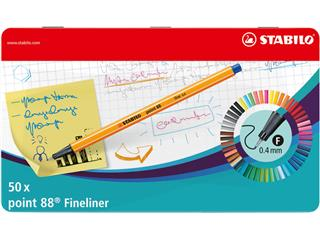 Fineliner STABILO point 88 blik à 50 stuks kleuren
