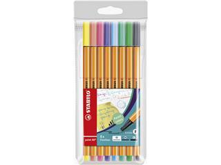 Fineliner STABILO point 88 pastel etui à 8 kleuren