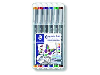 Fineliner Staedtler Pigment 308 0.3mm set à 6st assorti