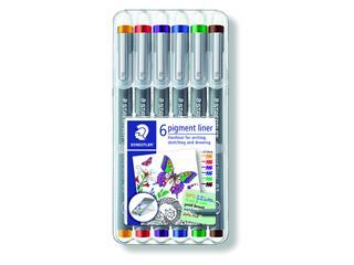 Fineliner Staedtler Pigment 308 assorti 0.5mm set à 6st assorti