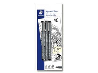 Fineliner Staedtler Pigment 308 blister 3 à lijnbreedten zwart