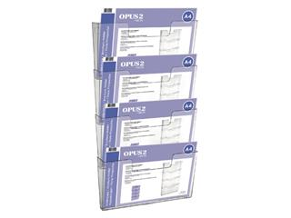 Folderhouder OPUS 2 A4 wand liggend koppelbaar transparant