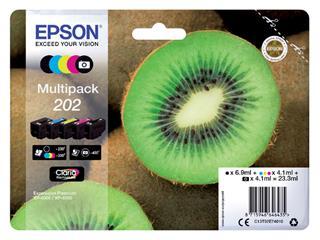 Inktcartridge Epson 202 T02E74 zwart + 3 kleuren + foto zwart