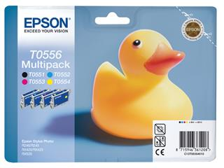 Inktcartridge Epson T0556 zwart + 3 kleuren