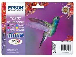 Inktcartridge Epson T0807 zwart + 5 kleuren