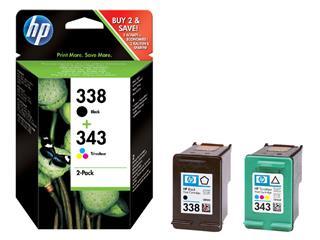 Inktcartridge HP SD449EE 338 + 343 zwart + kleur