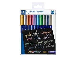 Kalligrafiepen Staedtler metallic etui à 10 kleuren