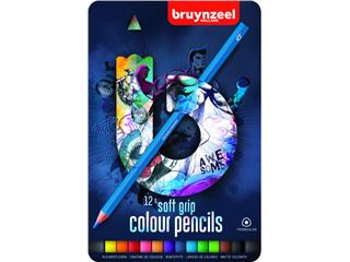 Kleurpotloden Bruynzeel Teens Soft 12stuks blauw blik assorti