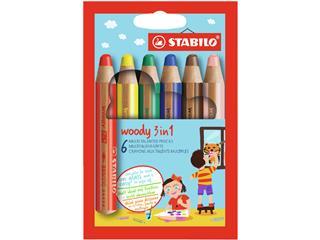Kleurpotloden STABILO Woody 8806 etui à 6 kleuren