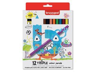 Kleurpotloden Bruynzeel Kids Triple blister à 12 stuks assorti