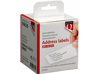 LABEL ETIKET QUANTORE 99012 89MMX36MM ADRES WIT