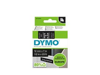 Labeltape Dymo 45021 D1 720610 12mmx7m wit op zwart