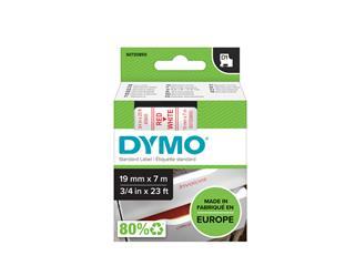 Labeltape Dymo 45805 D1 720850 19mmx7m rood op wit