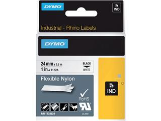 Labeltape Dymo Rhino 1734524 nyl 24mmx3.5m zwart op wit