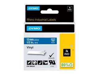 Labeltape Dymo Rhino 1805243 12mmx5.5m vinyl wit op blauw