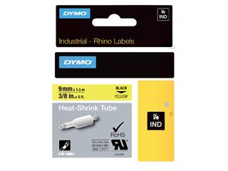 Labeltape Dymo Rhino 18054 krimpkous 9mmx1.5m zwart op geel