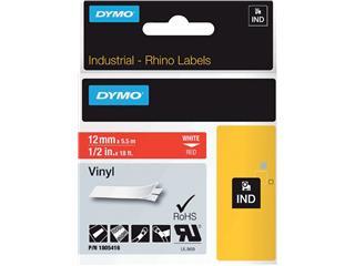 Labeltape Dymo Rhino 18054 vinyl 12mmx5.5m rood op wit